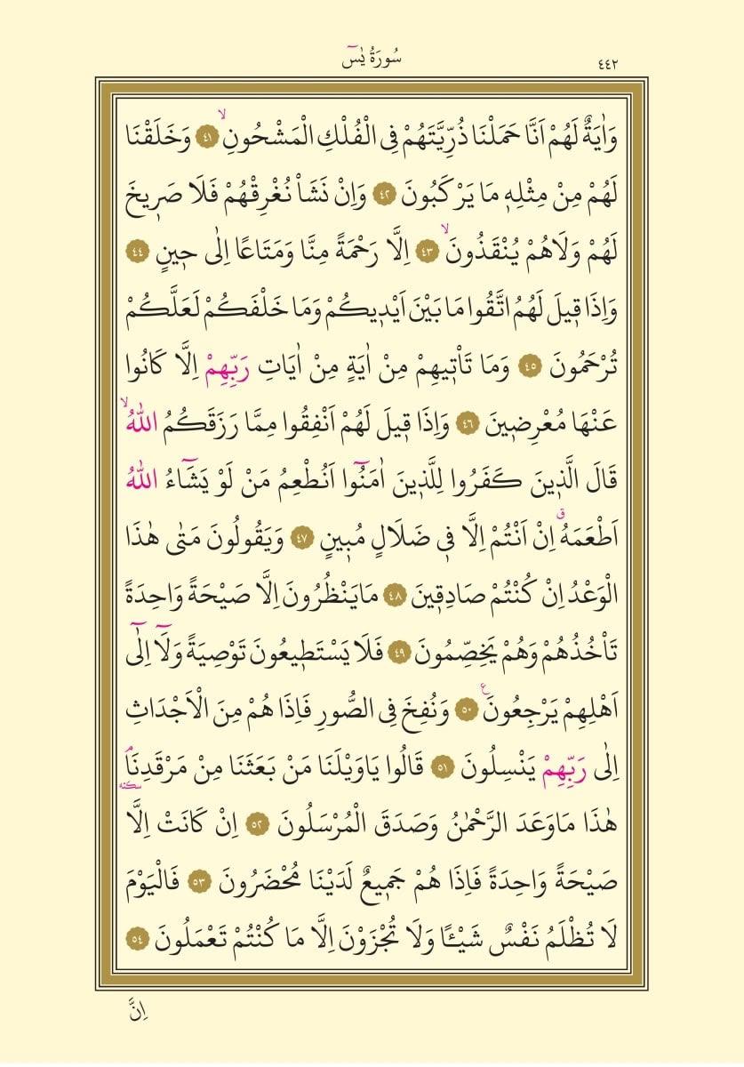 Yasin Suresi 4. Sayfa, Arapça oku
